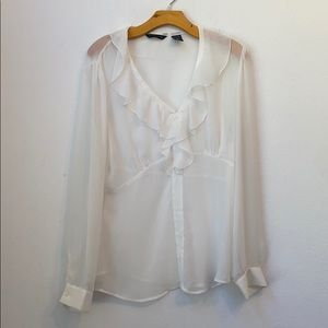 NEW YORK & COMPANY SOLID WHITE BLOUSE SIZE 14